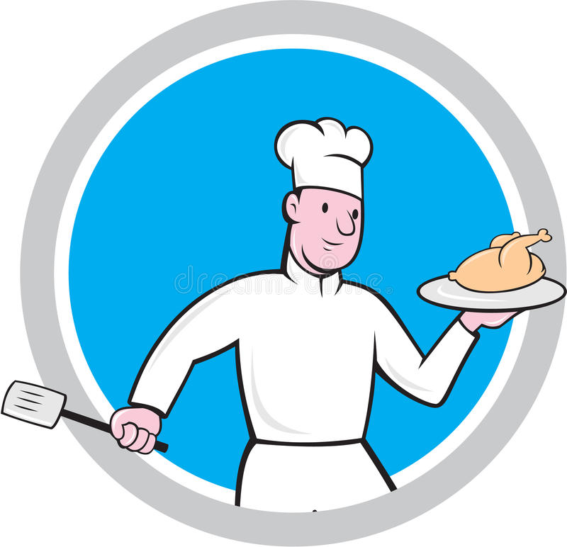 Chef With Chicken Spatula Circle Cartoon Stock Illustration