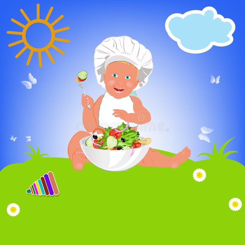 Download Chef Child And Fresh Vegetable Salad Stock Illustration - Image: 29784113