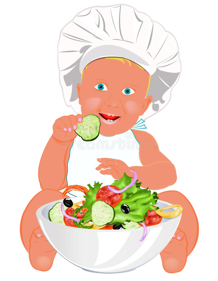 Chef Child And Fresh Vegetable Salad Royalty Free Stock Photography