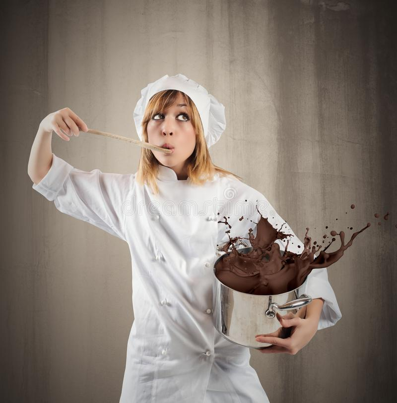 Chef with chocolate royalty free stock images