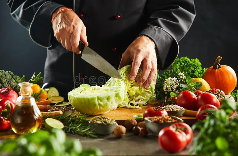 Chef chopping a fresh cabbage with a kitchen knife royalty free stock photography