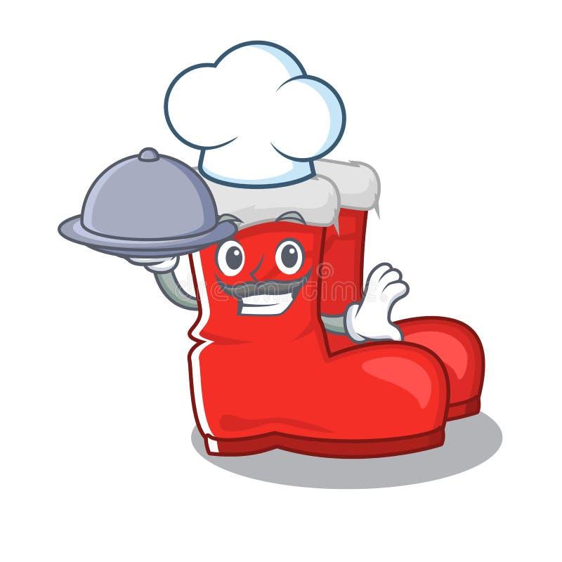 Chef com botas de santa de alimentos isolou o personagem ilustração stock