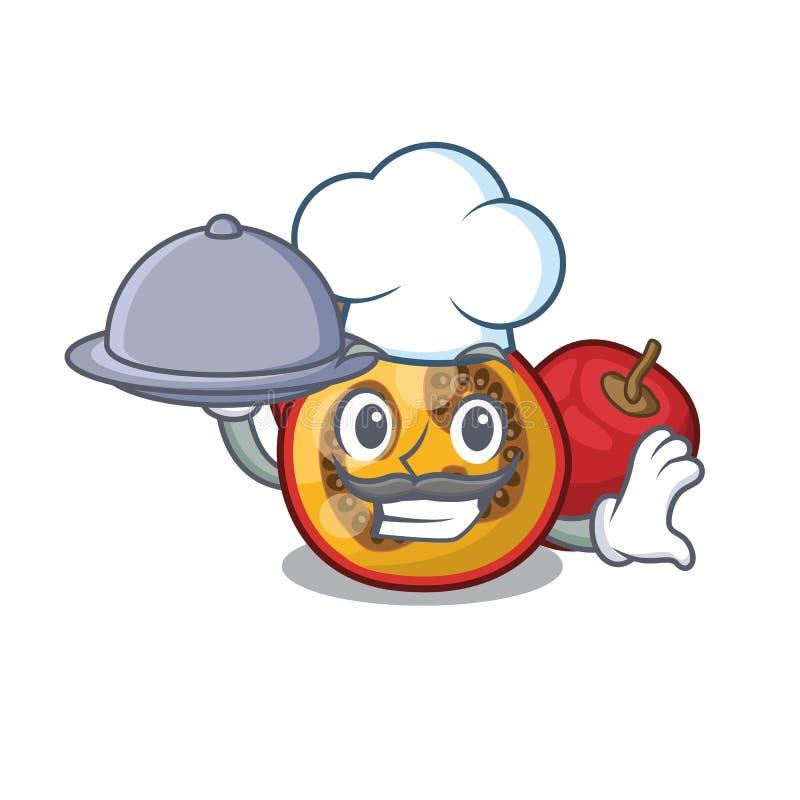 Chef com comida de tamarillo no cesto de papéis ilustração stock