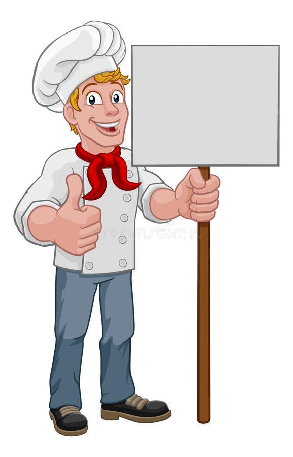 Chef Cook Baker Sign Cartoon royalty free illustration