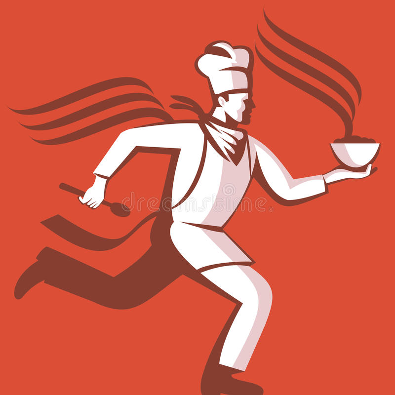 Chef Cook Baker Running With Soup Bowl. Illustration of a chef cook baker running with spoon and bowl of hot food viewed from side done in retro style stock illustration