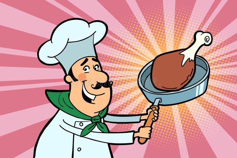 Chef cook character with roasted meat stock illustration