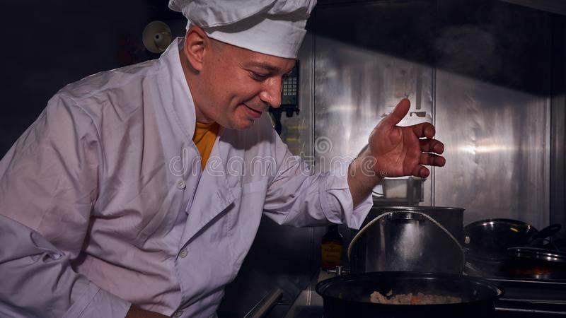 Chef cook, great design for any purposes. Cooking concept. Kitchen portrait. Healthy food. Diet concept. Chef concept stock images