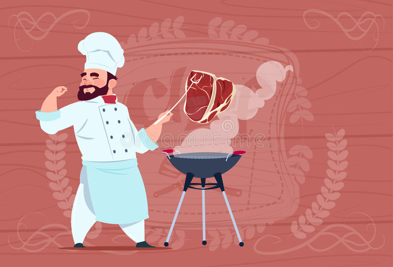 Chef Cook Grill Meat On Bbq Cartoon Restaurant Chief In White Uniform Over Wooden Textured Background. Flat Vector Illustration royalty free illustration