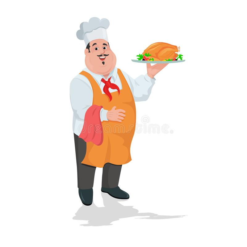 Chef cook with grilled chicken on plate stock illustration