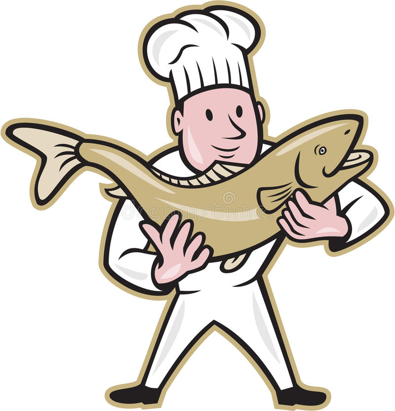 Chef Cook Handling Salmon Fish Standing. Illustration of a chef cook handling holding up a trout salmon fish facing front standing on isolated whit5e background vector illustration