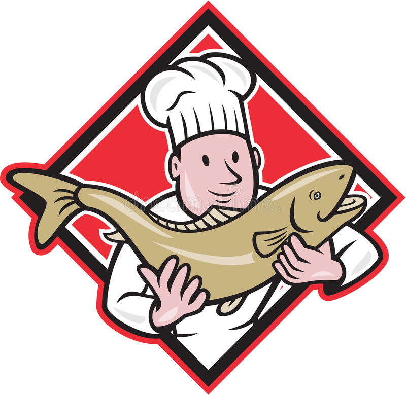 Chef Cook Handling Salmon Trout Fish Cartoon. Illustration of a chef cook handling holding up a trout salmon fish facing front set inside diamond shape done in stock illustration