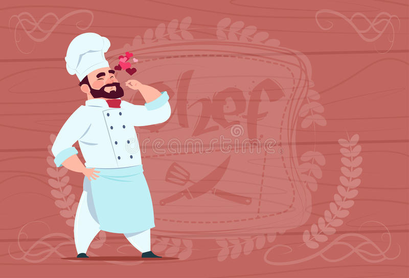 Chef Cook Happy Smiling Cartoon Restaurant Chief In White Uniform Over Wooden Textured Background stock illustration