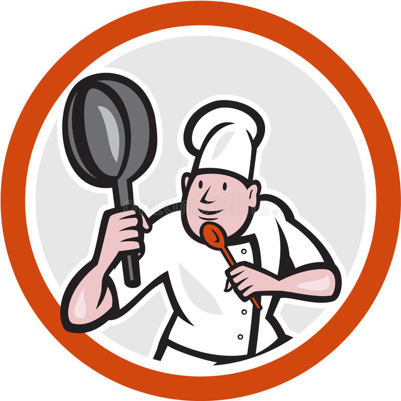 Chef Cook Holding Frying Pan Fighting Stance Cartoon. Illustration of a chef cook holding frying pan in kung fu fighting stance set inside circle on isolated stock illustration