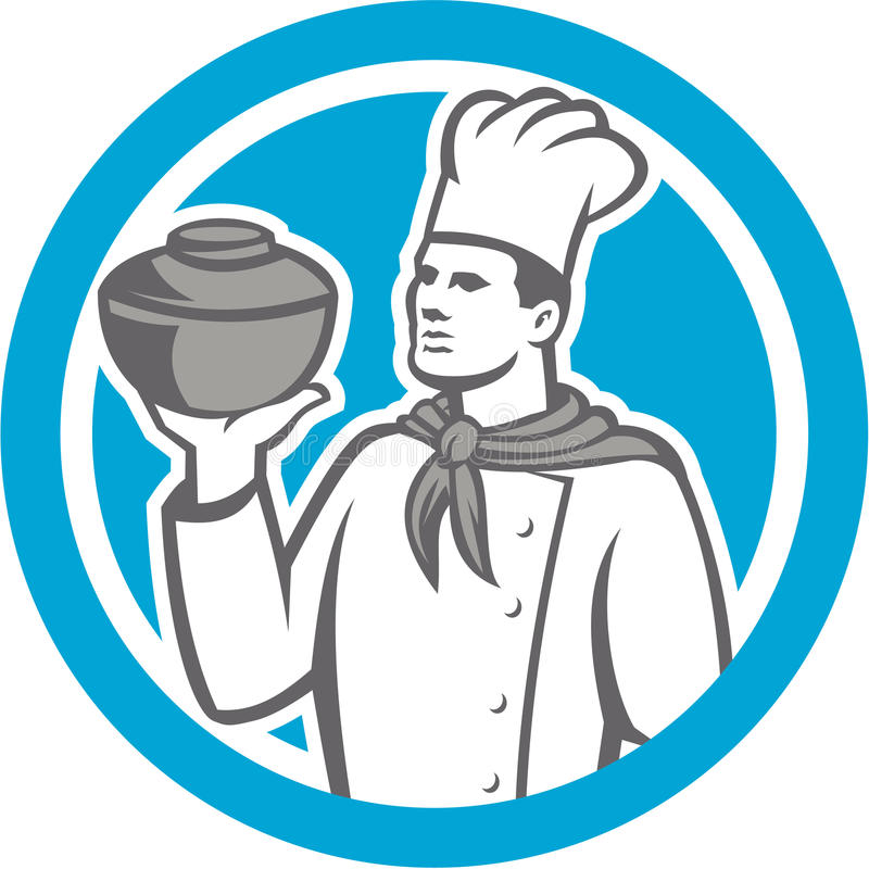 Download Chef Cook Holding Up Pot Retro Stock Vector - Image: 40367478