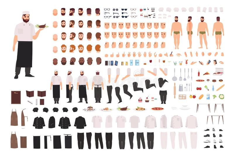 Chef, cook or kitchen worker creation set or DIY kit. Collection of body parts, facial expressions, postures, clothing stock illustration