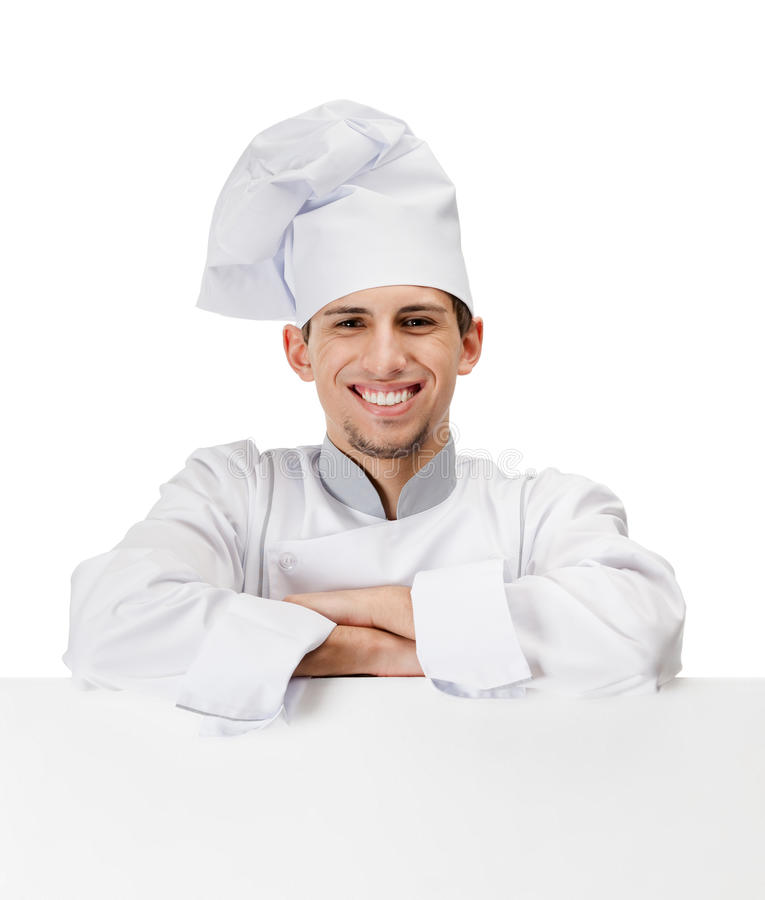 Download Chef Cook Leans On A Cardboard Sheet Stock Image - Image of copy, advance: 27112229