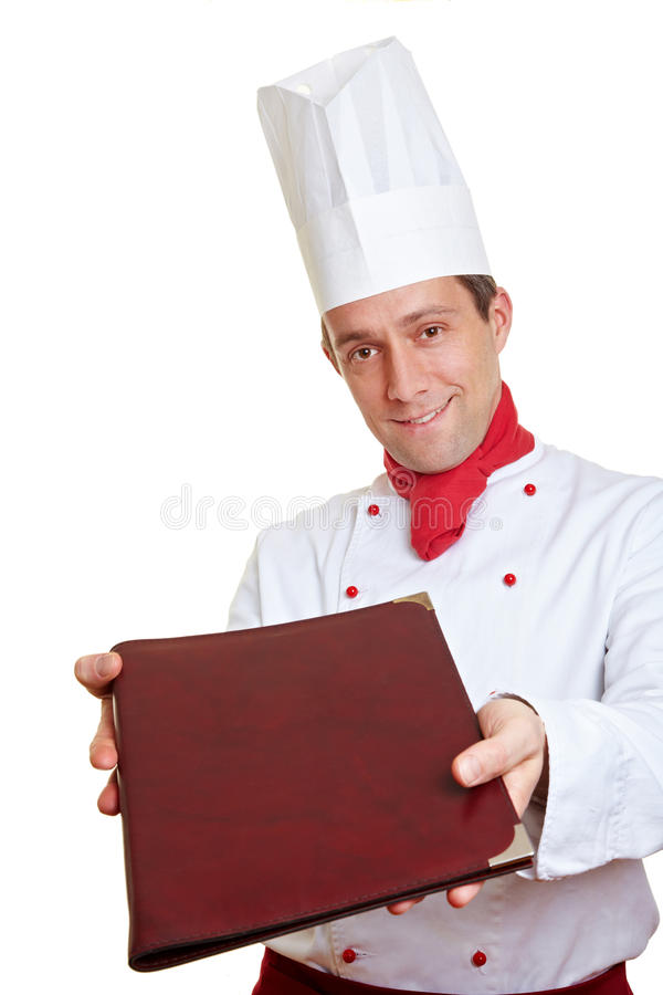 Chef cook offering menu card royalty free stock photos