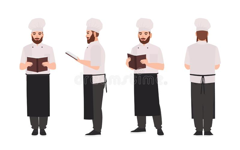 Chef, cook or restaurant worker wearing uniform and toque reading recipe or culinary book. Male cartoon character. Isolated on white background. Front, side vector illustration