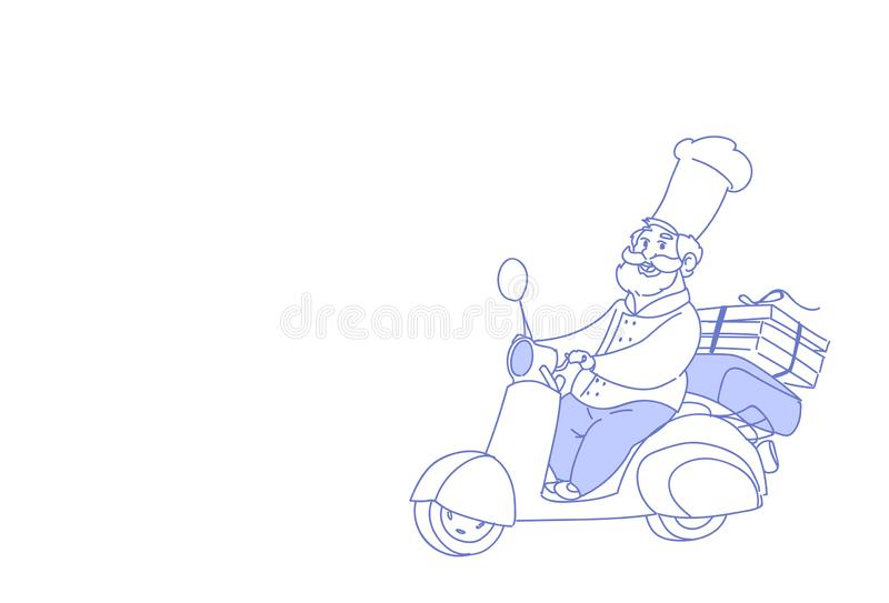 Chef cook riding electric scooter pizza fast food delivery concept vintage motorcycle sketch doodle horizontal vector illustration