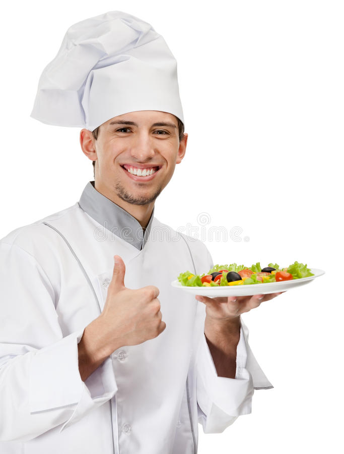 Chef cook with salad dish thumbs up stock photo image for Job cuisinier