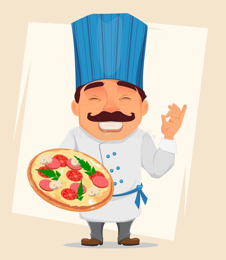 Chef Cook tenant la pizza savoureuse Personnage de dessin animé mignon, cuisinier de sourire dans l'uniforme professionnel et cha illustration libre de droits