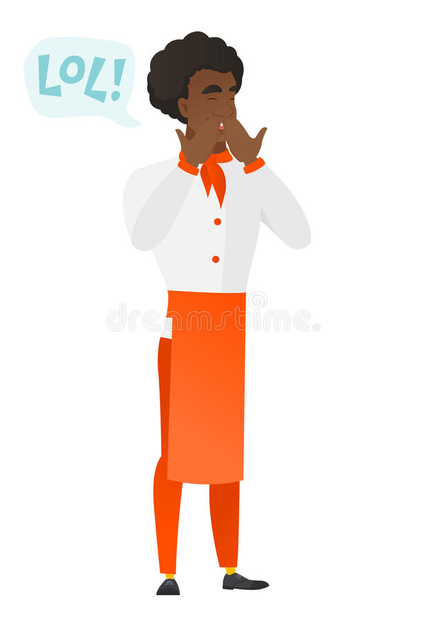 Chef cook in uniform laughing out loud. Chef cook and speech bubble with text - lol. Chef cook laughing out loud and covering his mouth. Vector flat design vector illustration