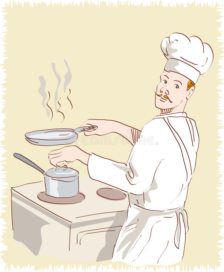 Chef cook at work. Vector illustration of a chef cook looking at you while holding a frying pan done in 1950s retro style