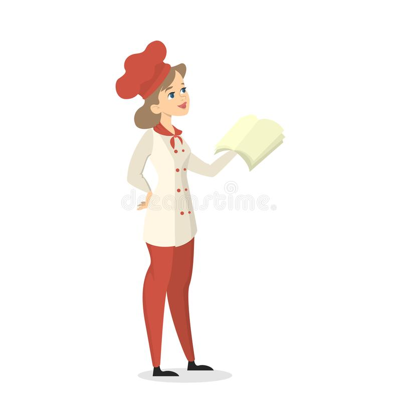Chef with cookbook. Isolated female chef with cookbook standing on white stock illustration