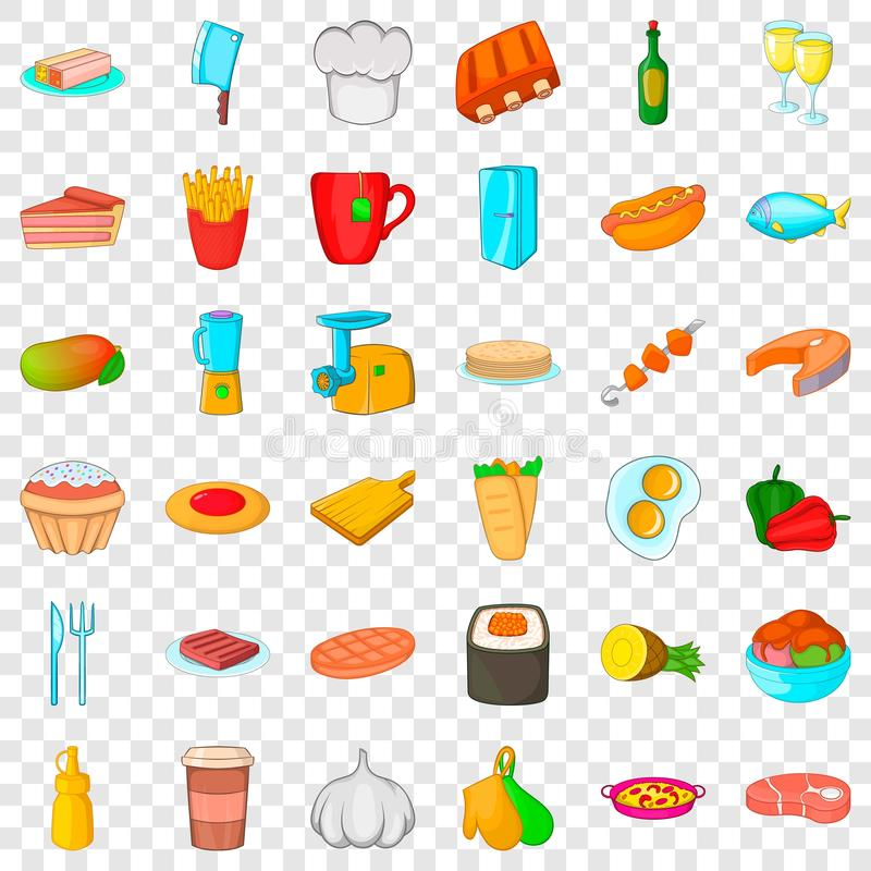 Chef cooker icons set, cartoon style vector illustration