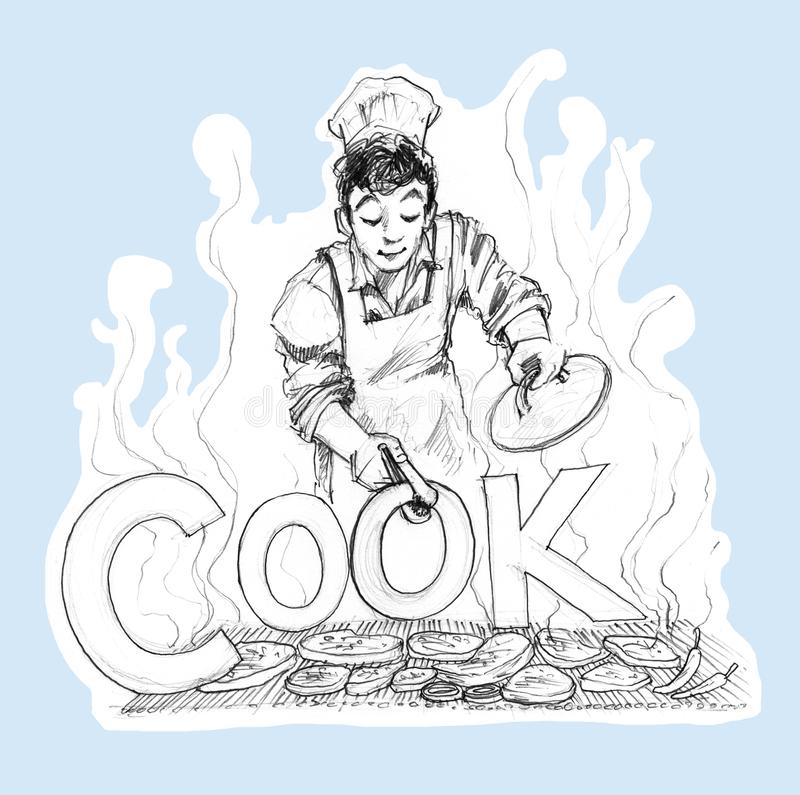 Chef cooking BBQ logo design hand drawn and pencil stroke royalty free illustration