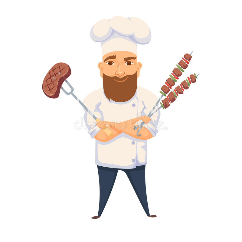 Chef cooking BBQ. In restaurant or hotel kitchen. Cute cook in uniform holding barbecue meat steak and vegetable. Cartoon smile kitchener making food on picnic vector illustration