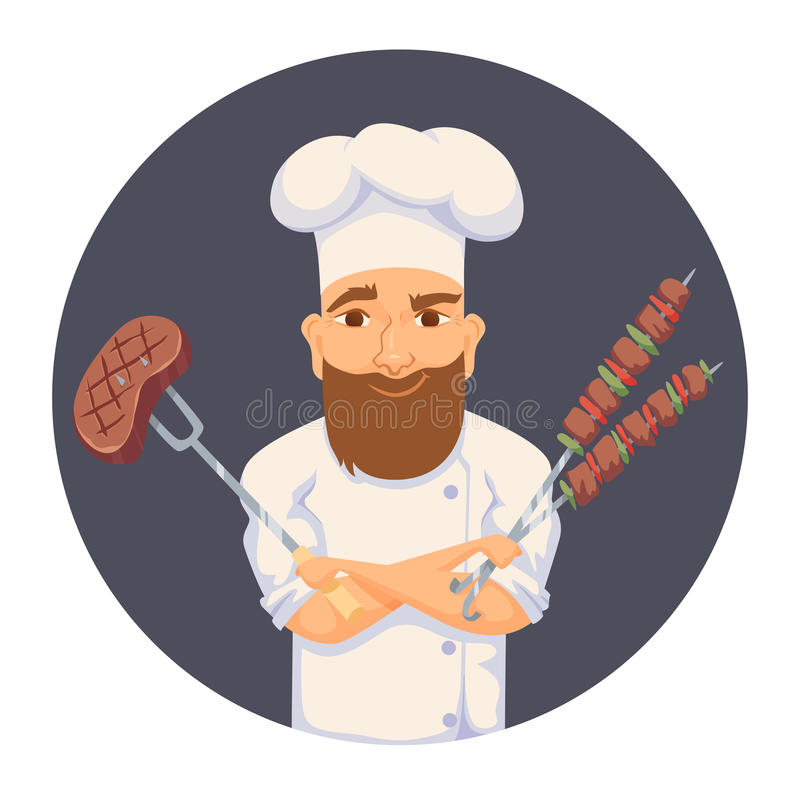 Chef cooking BBQ. In restaurant or hotel kitchen. Cute cook in uniform holding barbecue meat steak and vegetable. Cartoon smile kitchener making food on picnic royalty free illustration