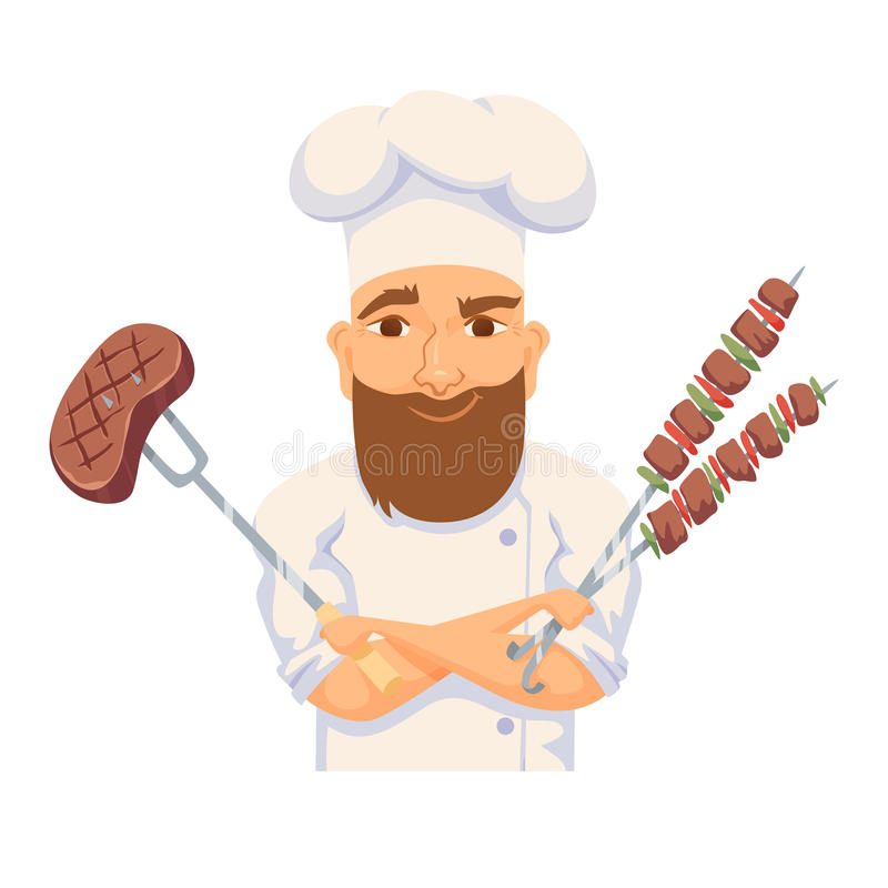 Chef cooking BBQ. In restaurant or hotel kitchen. Cute cook in uniform holding barbecue meat steak and vegetable. Cartoon smile kitchener making food on picnic stock illustration