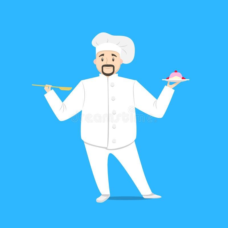 Chef Cooking de personne de personnage de dessin animé sur un bleu Vecteur illustration libre de droits