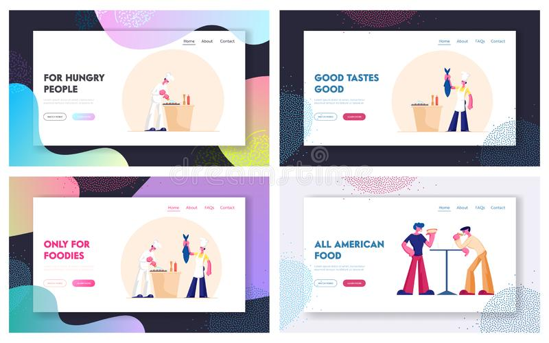 Chef Cooking Fish in Restaurant. People Eating Fastfood Website Landing Page Set. Healthy and Unhealthy Dinner. Seafood and Street food Nutrition Web Page stock illustration