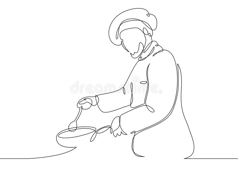 Chef cooking gourmet meal stock illustration