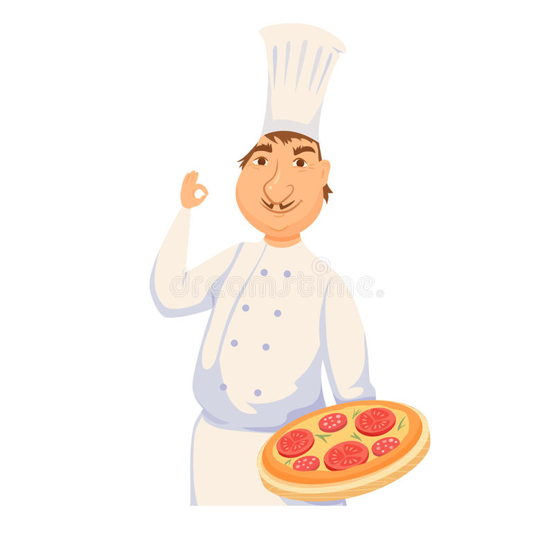 Chef cooking italian pizza. In restaurant or pizeeria kitchen. Cute cook in uniform holding tray with tomato pie. Cartoon smile baker making healthy organic royalty free illustration