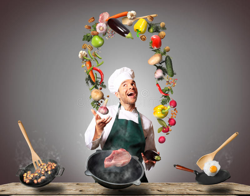 Chef is cooking royalty free stock image