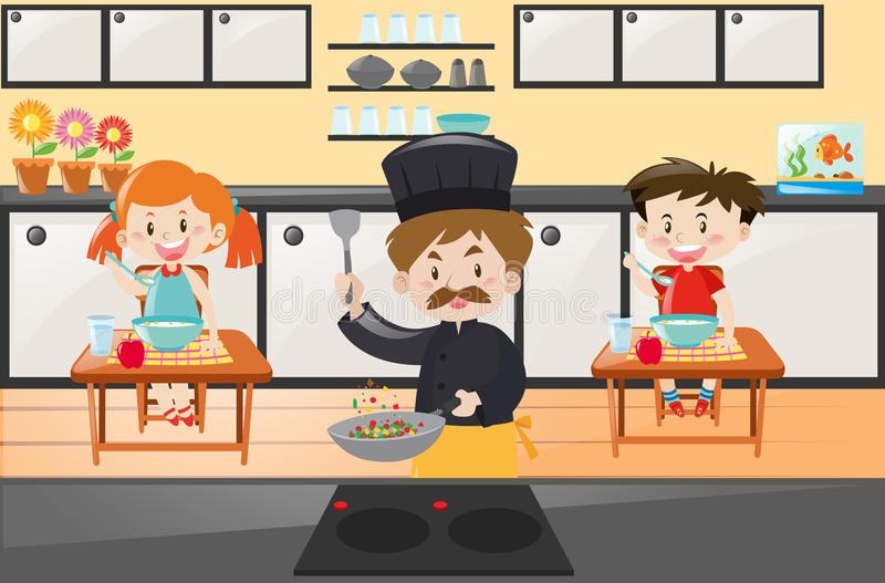 Chef cooking and kids eating in kitchen stock illustration