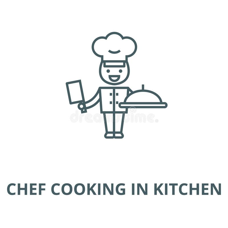 Chef cooking in kitchen line icon, vector. Chef cooking in kitchen outline sign, concept symbol, flat illustration. Chef cooking in kitchen line icon, vector vector illustration