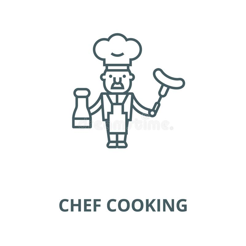 Chef cooking  line icon, vector. Chef cooking  outline sign, concept symbol, flat illustration. Chef cooking  line icon, vector. Chef cooking  outline sign stock illustration