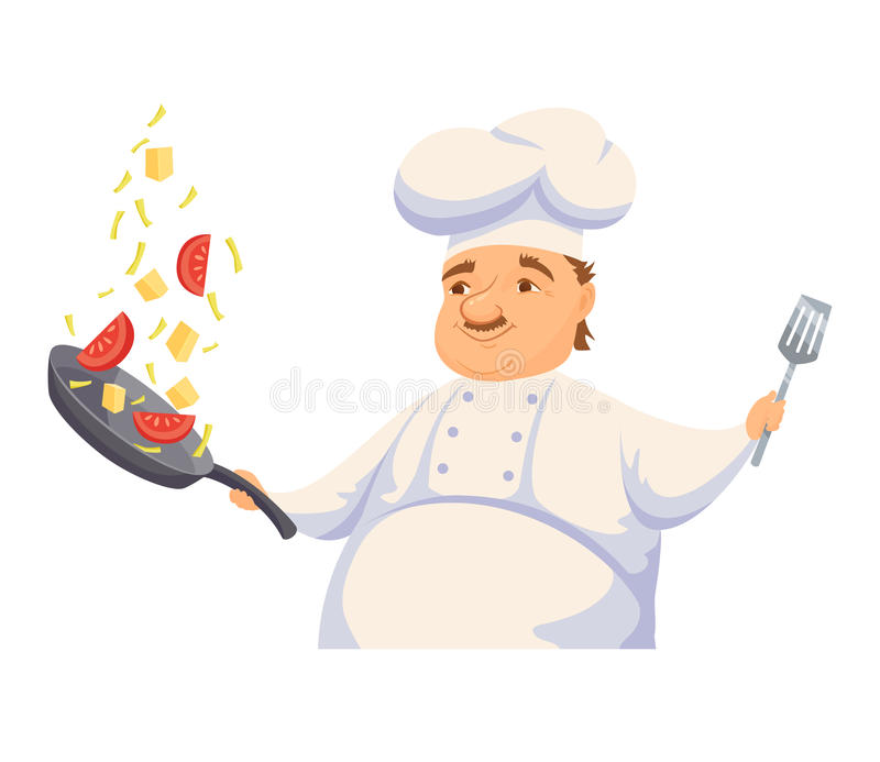 Chef cooking pasta. Sauce in restaurant or hotel kitchen. Cute cook in uniform holding pan and toss vegetables. Cartoon smile kitchener making healthy wok food stock illustration