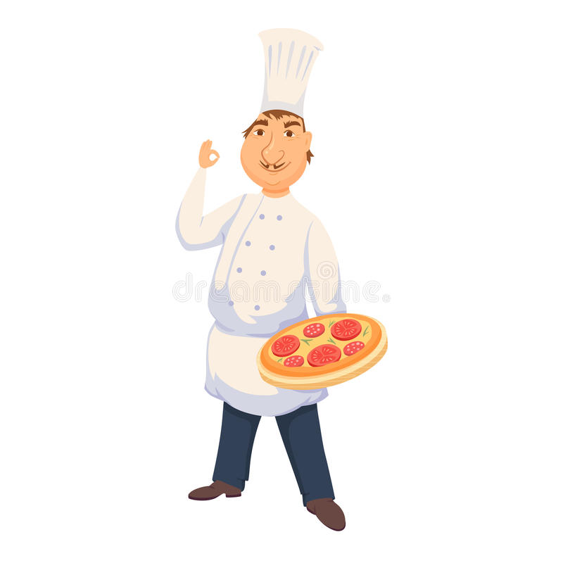 Chef cooking pizza. Chef cooking italian pizza in restaurant or pizeeria kitchen. Cute cook in uniform holding tray with tomato pie. Cartoon smile baker making stock illustration