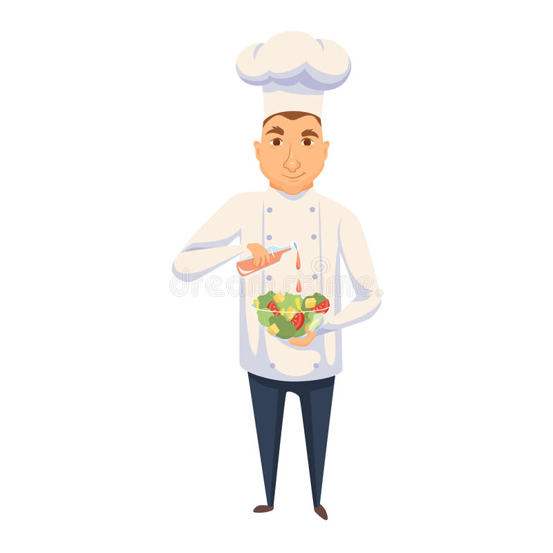 Chef cooking salad. In restaurant or hotel kitchen. Cute cook in uniform holding vegetable dish and add sauce. Cartoon smile kitchener making healthy organic stock illustration