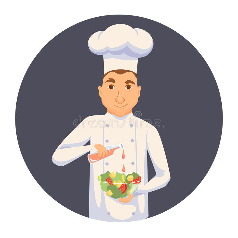 Chef cooking salad. In restaurant or hotel kitchen. Cute cook in uniform holding vegetable dish and add sauce. Cartoon smile kitchener making healthy organic royalty free illustration