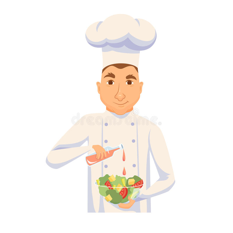 Chef cooking salad. In restaurant or hotel kitchen. Cute cook in uniform holding vegetable dish and add sauce. Cartoon smile kitchener making healthy organic vector illustration