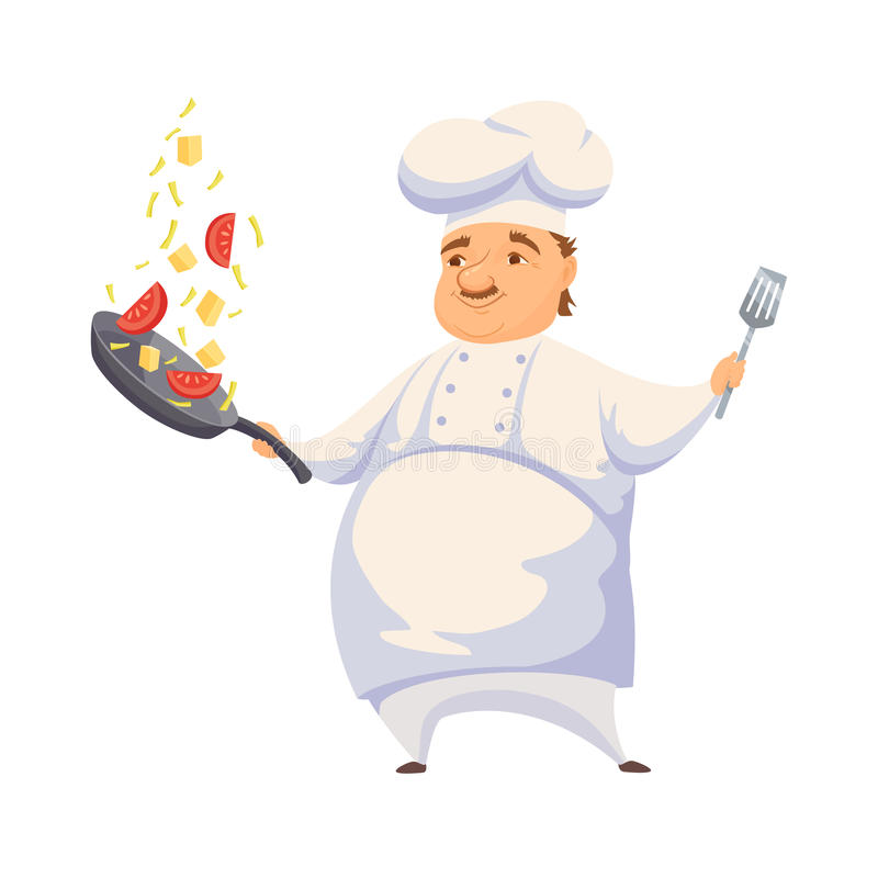 Chef cooking sauce. Chef cooking pasta sauce in restaurant or hotel kitchen. Cute cook in uniform holding pan and toss vegetables. Cartoon smile kitchener making vector illustration
