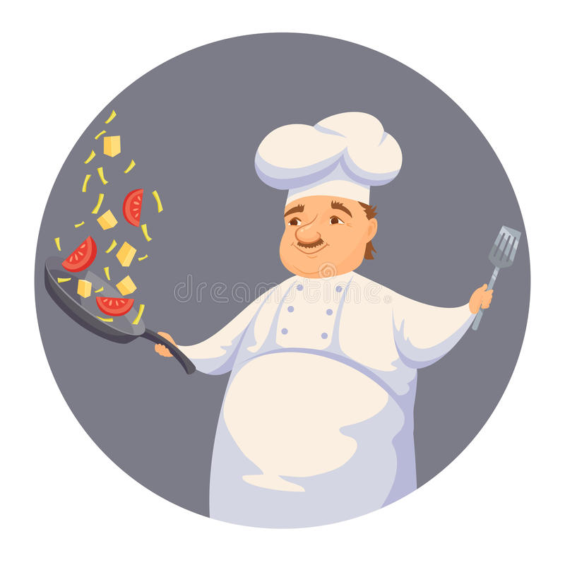 Chef cooking sauce. Chef cooking pasta sauce in restaurant or hotel kitchen. Cute cook in uniform holding pan and toss vegetables. Cartoon smile kitchener making stock illustration