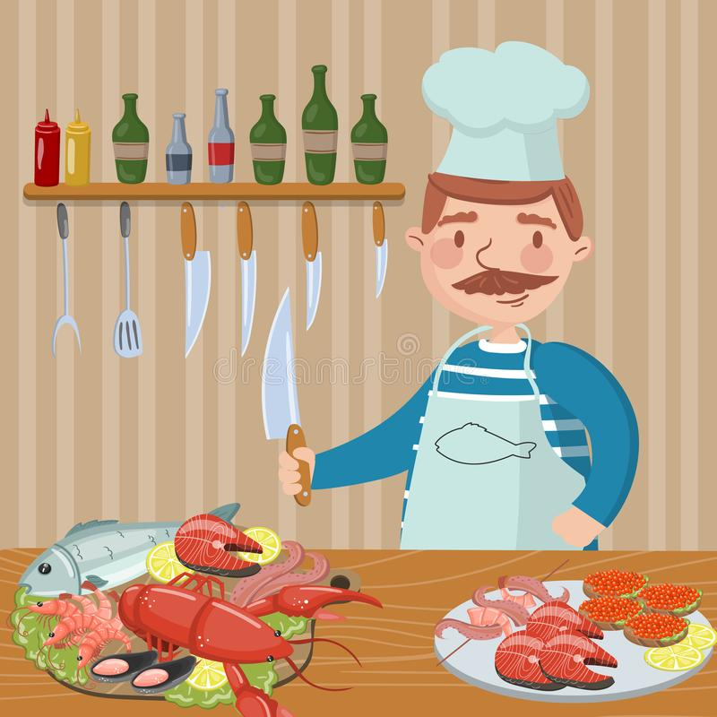 Chef cooking seafood on th kitchen vector illustration, cartoon style design element for poster or banner stock illustration