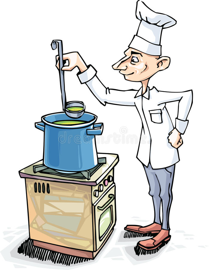 Chef is Cooking the Soup stock image
